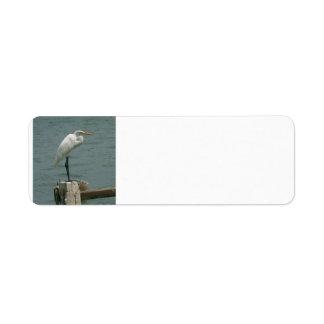 Heron on Piling Return Address Label