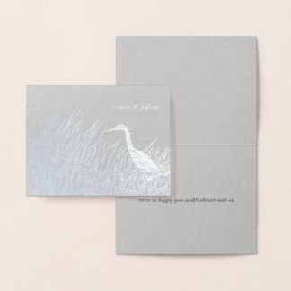 Heron silhouette rustic wedding thank you silver foil card