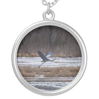 Heron Take Off Silver Plated Necklace