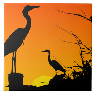 Herons at Sunset Tile