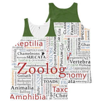 Herpetology in Typography All-Over Print Tank Top