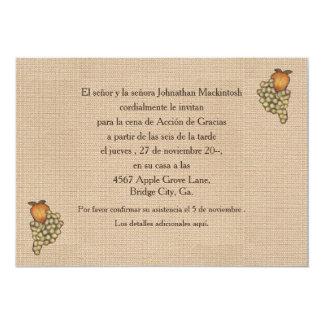 """Herradura de Acción de Gracias Hacia Abajo 5"""" X 7"""" Invitation Card"""