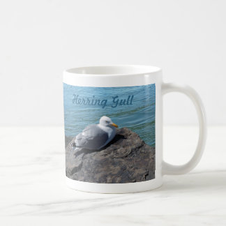 Herring Gull Resting on Rock Jetty: Coffee Mug