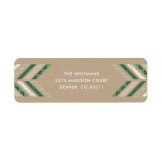 Herringbone Band Address Label - Clover