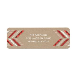 Herringbone Band Address Label - Crimson