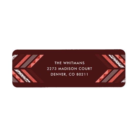 Herringbone Band Address Label - Maraschino