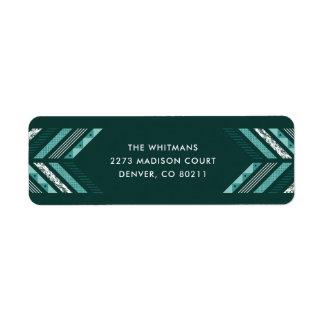 Herringbone Band Address Label - Teal