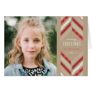 Herringbone Band Holiday Card - Crimson