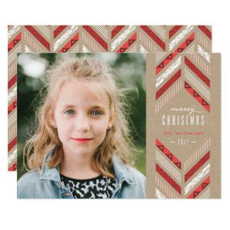 Herringbone Band Holiday Card - Crimson