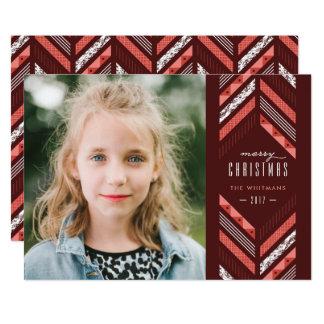 Herringbone Band Holiday Card - Maraschino