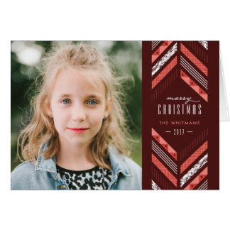 Herringbone Band Holiday Card - Maraschino