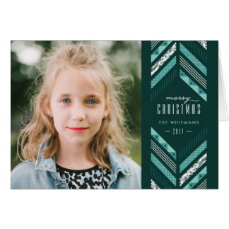 Herringbone Band Holiday Card - Teal