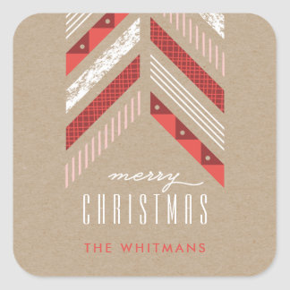 Herringbone Band Holiday Sticker - Crimson