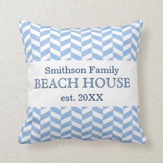 Herringbone Blue White Beach House Custom Cushion