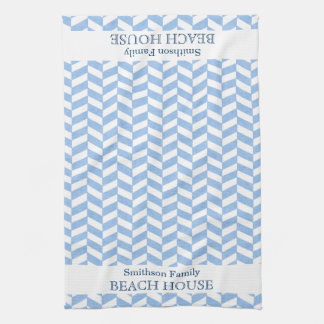 Herringbone Blue White Beach House Custom Kitchen Towels