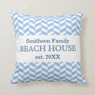 Herringbone Blue White Beach House Custom Throw Pillow