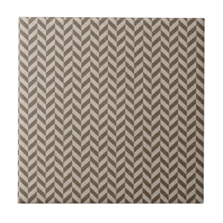 Herringbone Chevrons Pattern in Beige and Brown Small Square Tile