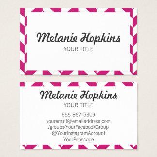 Herringbone Dark Pink Modern Retro Business Card