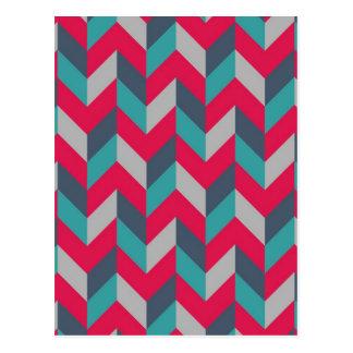 Herringbone Geometric Stripes Red Blue Gray Postcard