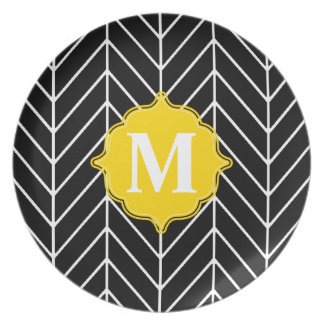 Herringbone Monogram Party Plate