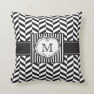 Herringbone monogram Throw Pillow