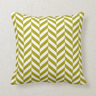Herringbone Pattern Chartreuse Green Cushion