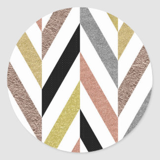 Herringbone Pattern Classic Round Sticker