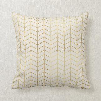 Herringbone Pattern Faux Gold Foil Ivory Geometric Cushions