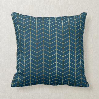 Herringbone Pattern Faux Gold Foil Navy Geometric Cushions