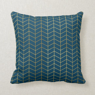 Herringbone Pattern Faux Gold Foil Navy Geometric Throw Pillow