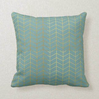Herringbone Pattern Faux Gold Foil Teal Geometric Cushion
