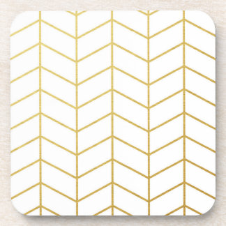 Herringbone Pattern Faux Gold Foil White Geometric Beverage Coasters