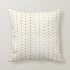 Herringbone Pattern Faux Gold Foil White Geometric Cushion