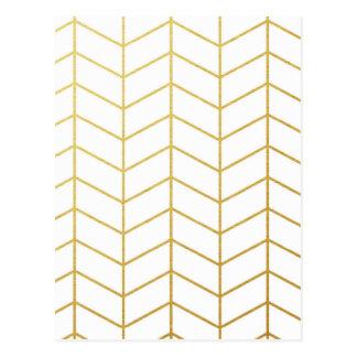 Herringbone Pattern Faux Gold Foil White Geometric Postcard