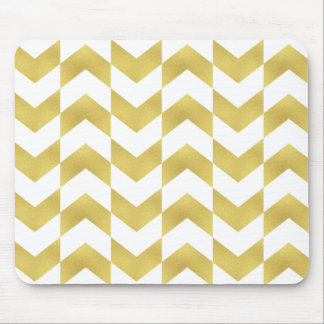 Herringbone Pattern Gold & White Mousepad
