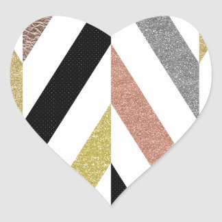 Herringbone Pattern Heart Sticker