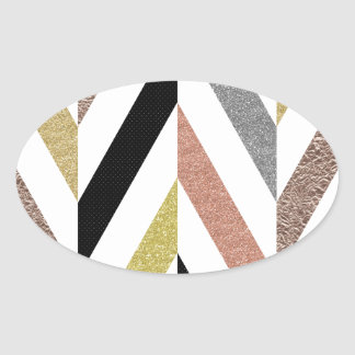 Herringbone Pattern Oval Sticker