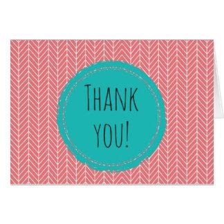 Herringbone Thank You Card Blank Inside