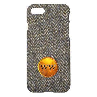 Herringbone Tweed and Gold Brass Monogram iPhone 8/7 Case