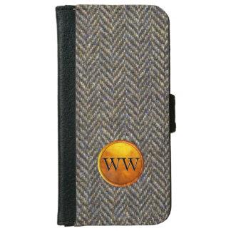 Herringbone Tweed Pattern Modern Gold Monogram iPhone 6 Wallet Case