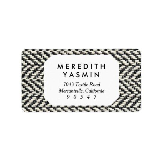 Herringbone Tweed Rustic Black & White Knit Print Address Label