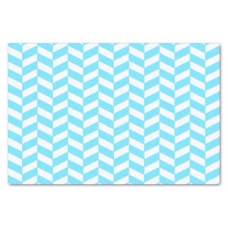 Herringbone White Bright Blue Summer Mod Pattern Tissue Paper