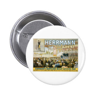 Herrmann The Great ~ Vintage Bullet Catching Act 6 Cm Round Badge