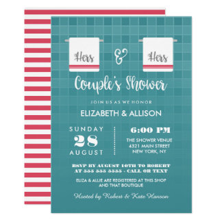 Hers & Hers | Blue & Red Lesbian Couple's Shower Card