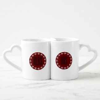 Hers & His Red Medallions & White Hearts Coffee Mug Set