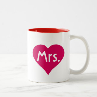 Hers Mrs Mug in red heart - Mr and Mrs mugs set