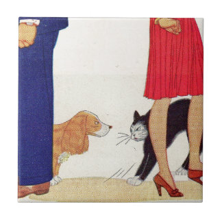 He's a dog man, she's a cat lady ceramic tile