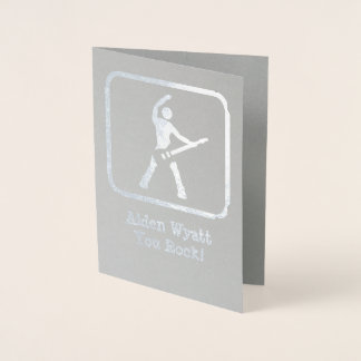 He's a Rock Star! - Silver Logo with Your Photo Foil Card