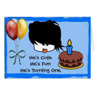 He's Cute He's One He's Turning One Greeting Card