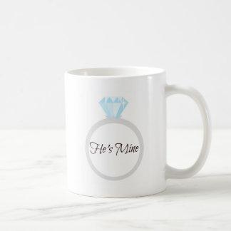 He's Mine Engagement Ring Basic White Mug